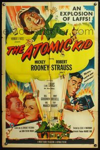 5e052 ATOMIC KID 1sh '55 art of nuclear Mickey Rooney, an explosion of laffs!