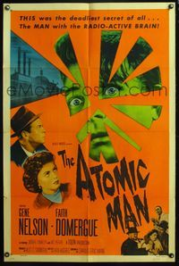 5e053 ATOMIC MAN style A 1sh '56 image of the man they called the Human Bomb, plus Faith Domergue!
