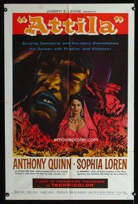 5e056 ATTILA 1sh R62 The Hun, action art of Anthony Quinn & sexy Sophia Loren!