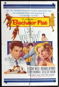 5e059 BACHELOR FLAT 1sh '62 Tuesday Weld & Richard Beymer kiss close up, a wall to wall wow!