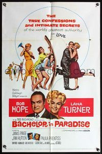 5e060 BACHELOR IN PARADISE 1sh '61 world's greatest lover Bob Hope romances sexy Lana Turner!