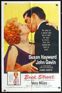 5e061 BACK STREET 1sh '61 Susan Hayward & John Gavin romantic close up, Vera Miles!