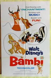 5e062 BAMBI 1sh R75 Walt Disney cartoon deer classic, great art of forest animals!
