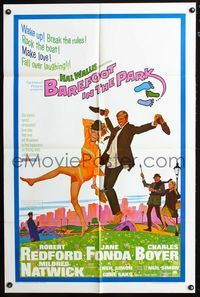 5e066 BAREFOOT IN THE PARK 1sh '67 artwork of frollicking Robert Redford & sexy Jane Fonda!