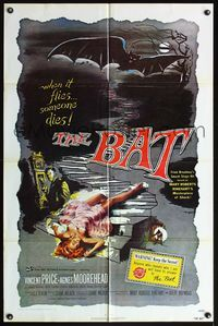 5e068 BAT 1sh R80s great horror art of Vincent Price & sexy fallen girl!