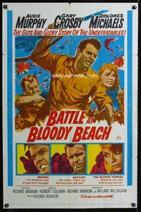 5e069 BATTLE AT BLOODY BEACH 1sh '61 Audie Murphy blazing and blasting the Pacific wide open!