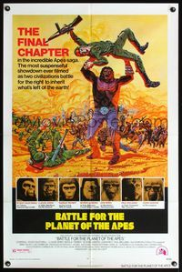 5e070 BATTLE FOR THE PLANET OF THE APES 1sh '73 great sci-fi artwork of war between apes & humans!