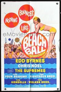 5e071 BEACH BALL 1sh '65 Edd Byrnes, Chris Noel, The Supremes, sexy girl in bikini art!