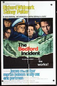 5e072 BEDFORD INCIDENT 1sh '65 Richard Widmark, Sidney Poitier, cool battleship & submarine art!