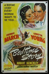 5e073 BEDTIME STORY 1sh '41 great artwork of Fredric March & sexy Loretta Young!