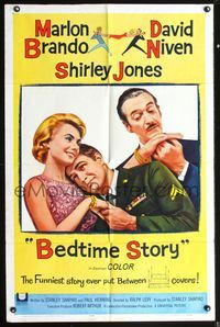 5e074 BEDTIME STORY 1sh '64 wacky romantic Marlon Brando & David Niven, Shirley Jones!