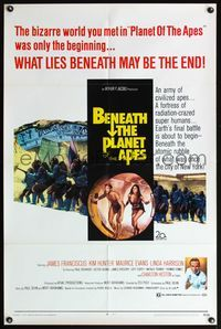 5e075 BENEATH THE PLANET OF THE APES 1sh '70 sci-fi sequel, what lies beneath may be the end!