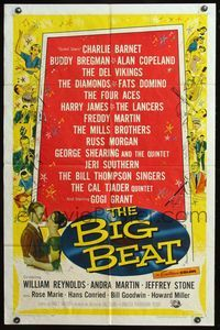 5e079 BIG BEAT 1sh '58 William J. Cowen directed, early blues & rock and roll, Fats Domino!