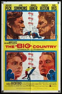 5e081 BIG COUNTRY style A 1sh '58 Gregory Peck, Charlton Heston, William Wyler classic!