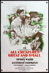 5e022 ALL CREATURES GREAT & SMALL English 1sh '74 Anthony Hopkins, Simon Ward, Lisa Harrow!