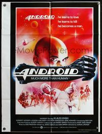 5e036 ANDROID English 1sh '82 Klaus Kinski, Norbert Weisser, Max 404 learns to love & to kill!