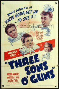 5e006 3 SONS O' GUNS 1sh '41 war comedy, wacky artwork of Wayne Morris, Marjorie Rambeau!