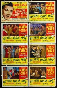 5h045 BECAUSE YOU'RE MINE 8 LCs '52 art & images of singing Mario Lanza, songs, fun & romance!