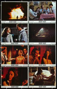 5h058 BODY HEAT 8 LCs '81 sexy smoking Kathleen Turner in robe & William Hurt!