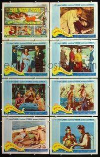 5h061 BOY ON A DOLPHIN 8 LCs '57 art of Alan Ladd & sexiest Sophia Loren swimming underwater!