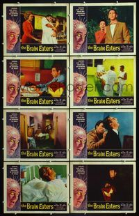 5h062 BRAIN EATERS 8 LCs '58 AIP, classic horror border art of girl's brain exploding!