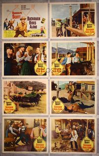 5h071 BUCHANAN RIDES ALONE 8 LCs '58 big man Randolph Scott has a big gun, directed by Boetticher!