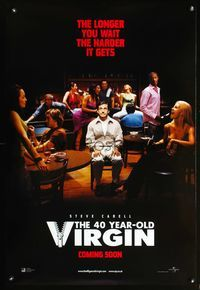 5m052 40 YEAR OLD VIRGIN DS adv English 1sh '05 the longer Steve Carell waits, the harder it gets!