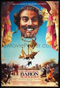 5m065 ADVENTURES OF BARON MUNCHAUSEN 1sh '89 directed by Terry Gilliam, John Neville & Uma Thurman!