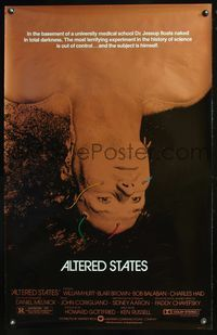 5m078 ALTERED STATES foil 1sh '80 William Hurt, Paddy Chayefsky, Ken Russell, cool sci-fi image!