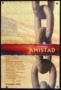 5m084 AMISTAD DS advance 1sh '97 Morgan Freeman, Steven Spielberg, cool sunset & chains design!