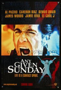 5m089 ANY GIVEN SUNDAY teaser 1sh '99 huge close-up of screaming coach Al Pacino, football!