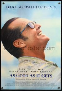 5m092 AS GOOD AS IT GETS DS int'l 1sh '98 great close up smiling image of Jack Nicholson as Melvin!
