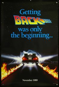 5m099 BACK TO THE FUTURE II teaser flames 1sh '89 Michael J. Fox & Christopher Lloyd, time travel!