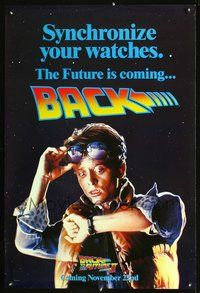 5m098 BACK TO THE FUTURE II DS teaser Marty 1sh '89 Michael J. Fox, the future is coming back!