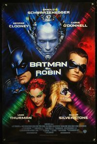 5m007 BATMAN & ROBIN int'l signed 1sh '97 by Clooney, O'Donnell, and Silverstone!