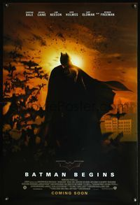5m115 BATMAN BEGINS DS coming soon advance 1sh '05 Christian Bale as the Caped Crusader!