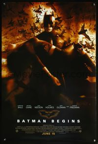 5m116 BATMAN BEGINS DS June 15 advance 1sh '05 Christian Bale as the Caped Crusader w/Katie Holmes!