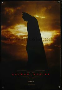 5m118 BATMAN BEGINS DS teaser 1sh '05 great profile image of Christian Bale as the Caped Crusader!