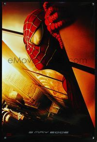 5m717 SPIDER-MAN teaser 1sh '02 Tobey Maguire with WTC in eyes, Sam Raimi, Marvel Comics!