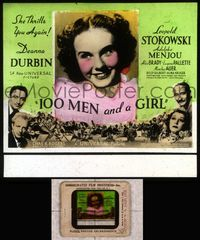 5v010 100 MEN & A GIRL glass slide '37 beautiful Deanna Durbin plays with Leopold Stokowski!