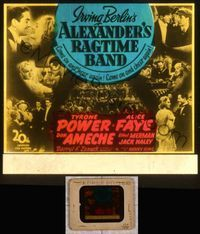 5v011 ALEXANDER'S RAGTIME BAND glass slide '38 Tyrone Power, Alice Faye & Don Ameche, Irving Berlin
