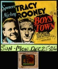 5v015 BOYS TOWN glass slide '38 Spencer Tracy as Father Flannagan with Mickey Rooney!