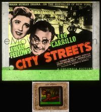 5v017 CITY STREETS glass slide '38 Leo Carrillo gives up everything to help orphan Edith Fellows!