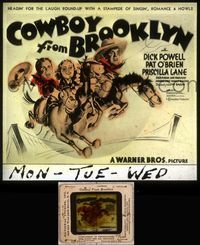 5v020 COWBOY FROM BROOKLYN glass slide '38 art of Powell, Pat O'Brien & Priscilla Lane on horses!