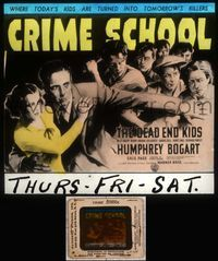 5v021 CRIME SCHOOL glass slide '38 Humphrey Bogart, the Dead End Kids turn into tomorrow's killers!