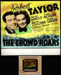 5v022 CROWD ROARS glass slide '38 close up of boxer Robert Taylor with Maureen O'Sullivan!