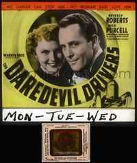 5v023 DAREDEVIL DRIVERS glass slide '38 no danger can stop Purcell, Roberts doesn't dare love him!