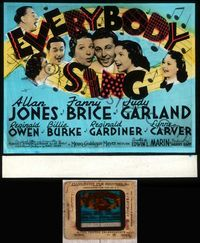 5v024 EVERYBODY SING glass slide '38 Judy Garland, Allan Jones, Fanny Brice, all singing together!