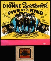 5v026 FIVE OF A KIND glass slide '38 the Dionne Quintuplets sing, dance, act & make music!