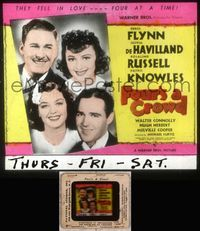 5v028 FOUR'S A CROWD glass slide '38 Errol Flynn, Olivia de Havilland, Rosalind Russell, Knowles